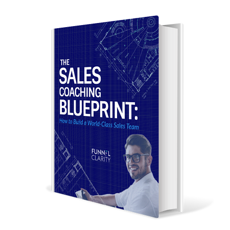 Book Cover with Sales Coach smiling on it and blueprint design in background