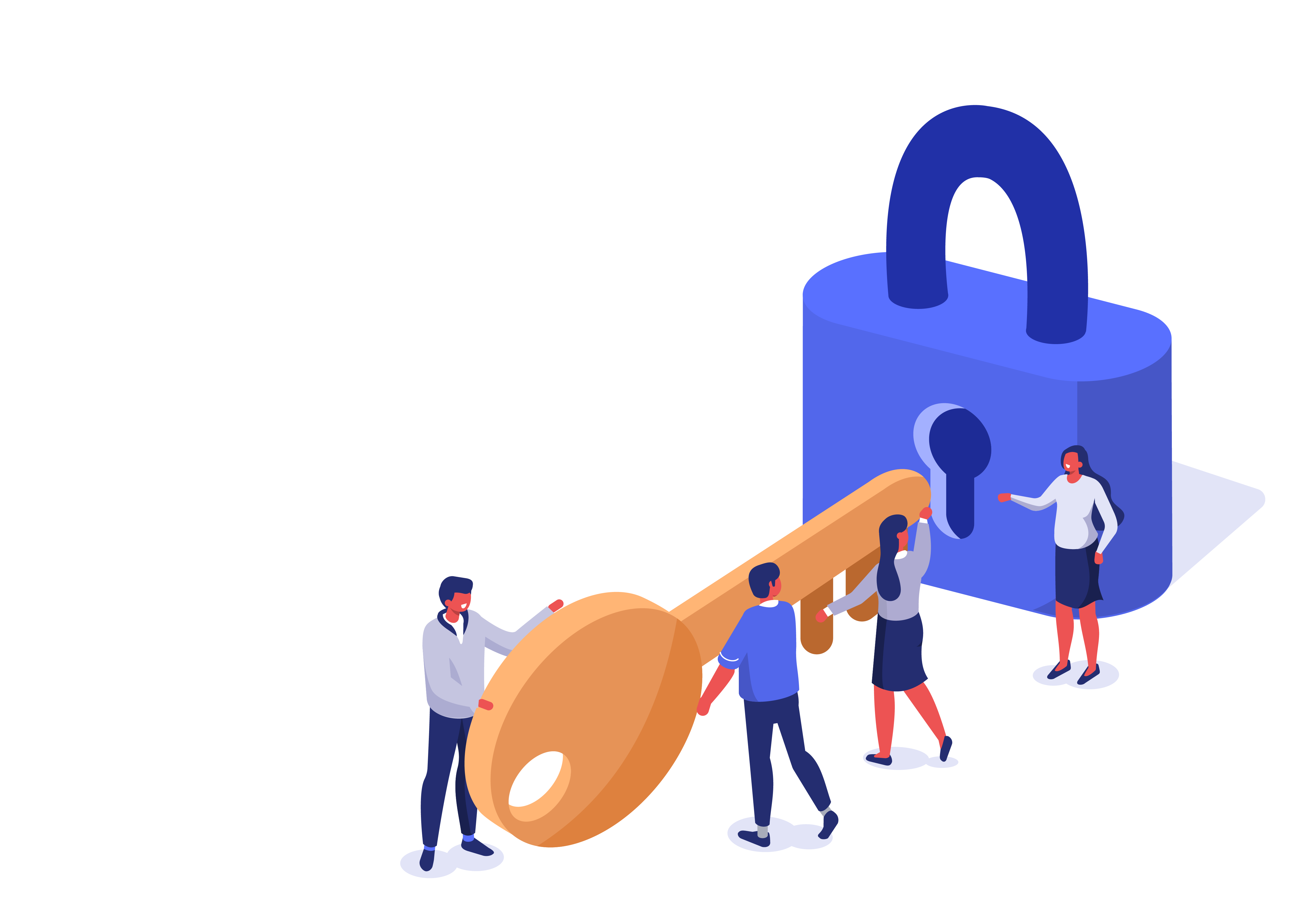 Illustration of business colleagues trying to fit a key